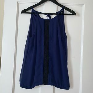 Small Navy Express Blouse Tank With Lace Detail